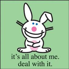 whte rabbit telling us thatthe world revolves around it and we just have to accept it and deal with it.