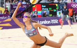 Russian athlete plays women's beach volleyball Olympics London 2012